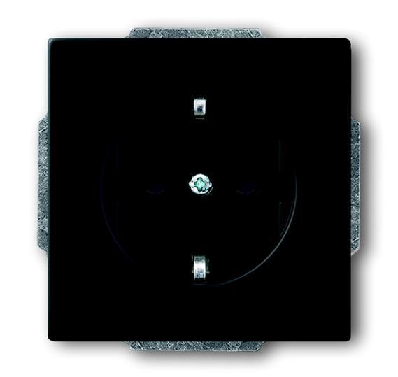 Розетка SCHUKO 16А 250В с защитными шторками, серия solo/future, цвет чёрный бархат 2013-0-5333 ABB