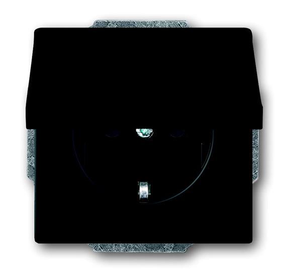 Розетка SCHUKO 16А 250В с крышкой, серия solo/future, цвет чёрный бархат 2018-0-1495 ABB