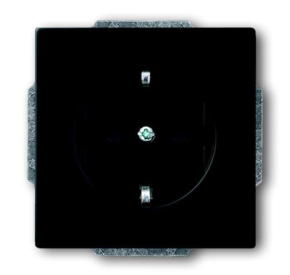 Розетка SCHUKO 16А 250В, серия solo/future, цвет чёрный бархат 2011-0-3883 ABB