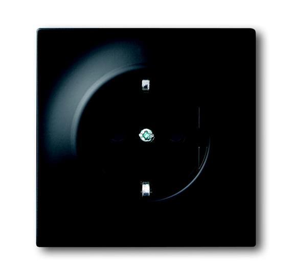 Розетка SCHUKO 16А 250В с защитными шторками, серия impuls, цвет чёрный бархат 2013-0-5334 ABB