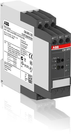 Однофазное реле контроля тока CM-SRS.12 (диапазоны измерения 0.3-1.5А, 1-5A, 3-15A) 220-240В AC, 1ПК 1SVR730841R1300 ABB