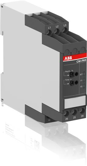 Реле контроля асимметрии фаз CM-PAS.41S с регул порог срабатывания 2-25%, Uпит=Uизм=3х300-500В AC, 2 1SVR730774R3300 ABB