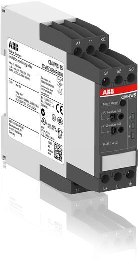 Реле контроля сопротивления изоляции CM-IWS.1S (1-100кОм) Uизм=250В AC/300В DC, пружинные клеммы 1SVR730660R0100 ABB
