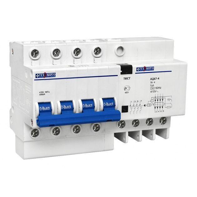 Дифавтомат АД 67-4 4п 16A/30мА AC C 4,5кА TDA4C16S Texenergo