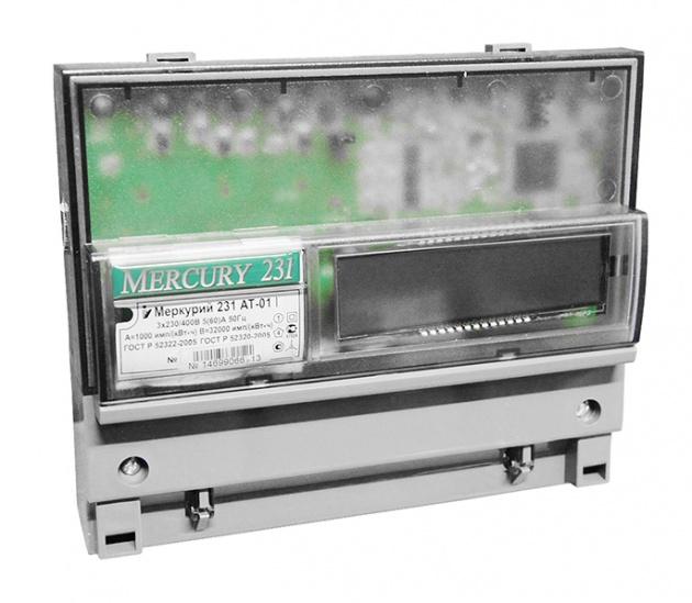 Счетчик Меркурий 231 AT-01 I 5(60)А 3*230/400В мн.т. кл.т.1 ЖКИ М231AT-01I Меркурий