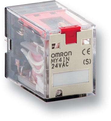 MY4IN 220/240AC (S) Реле серии MY-S, форма контактов 4PDT, со светодиодным индикатором и блокируемой тестовой кнопкой, напряжение питания 220/240 V AC 114051 Omron