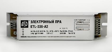 Электронное пускорегулирующее ус-во ЭПРА ETL-236-A2 2х36Вт Т8/G13 ASD 4680005951192 Россия
