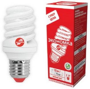 Энергосберегающая лампа ECONOM SPC 20W E27 Т2 теплый свет LKsmТ2SPC20wE2727eco Космос