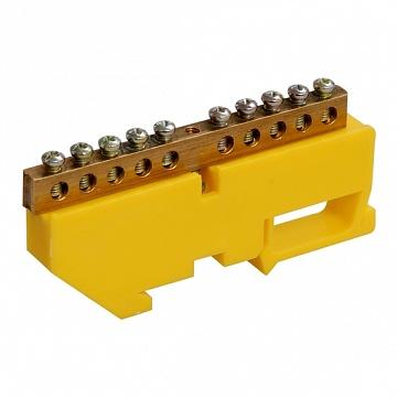 Шина нулевая на жёлтом DIN-изоляторе ШНИ-6х9-14-Д-Ж ИЭК YNN10-69-14D-K05 IEK