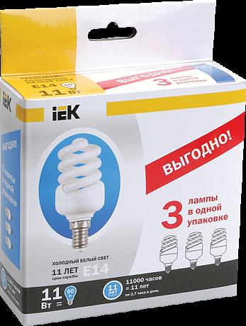 Лампа энергосберегающая спираль КЭЛ-FS Е27 30Вт 4000К ПРОМОПАК 3 шт ИЭК LLE25-27-030-4000-T4-S3 IEK