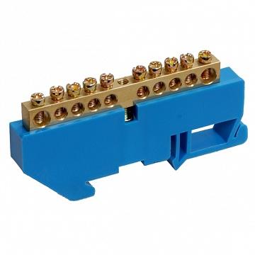 Шина нулевая на синем DIN-изоляторе ШНИ-6х9-24-Д-С ИЭК YNN10-69-24D-K07 IEK