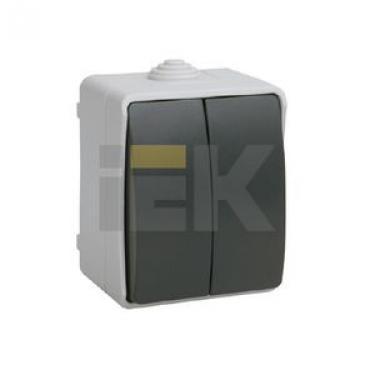 ВС20-2-0-ФСр Выключатель Форс двухклавишный для открытой установки IP54 EVS20-K03-10-54-DC IEK