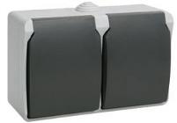 РСб22-3-ФСр Розетка двухместная с з/к для открытой установки IP54 ERS22-K03-16-54-DC IEK