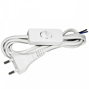 Шнур УШ-1КВ с плоской вилкой и выключателем 2х0,75/2метра, белый ИЭК WUP20-02-K01 IEK