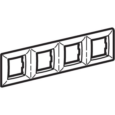 Рамка на 2+2+2+2 модуля (четырехместная), белая, RAL9010 Brava DKC 75014W DKC