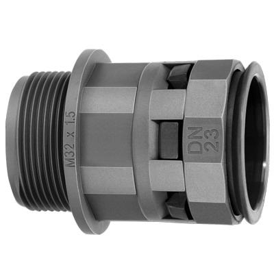 Муфта труба-коробка DN 48 мм, M63х1,5, полиамид, цвет чёрный Октопус Индустриальные DKC PAM48M63N DKC