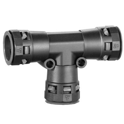 Тройник DN 17/17/17 мм, полиамид, цвет чёрный Октопус Индустриальные DKC PAT17N DKC