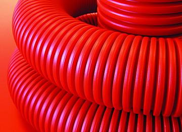 Труба гофрированная двустенная 110 мм с протяжкой с муфтой красная (50м) 121911 DKC