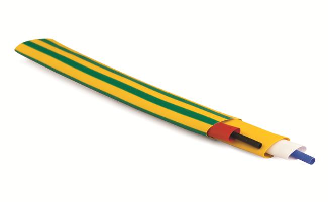 Термоусаживаемая негорючая трубка в рулоне 12,7/6,4мм желто-зеленый Quadro DKC 2NF201R127GY DKC