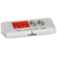 Настольный блок - 4x2К+3 (2 с механической блокировкой) - алюминий - для подсоединения кабелем 653551 Legrand