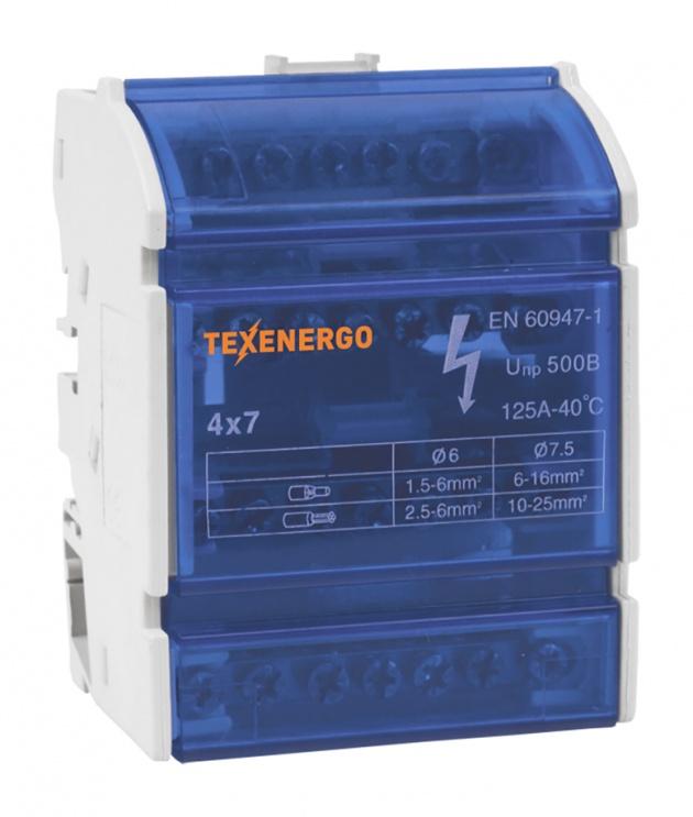 Шина нулевая на DIN-рейку в корпусе 4х7 групп Texenergo ND4-07 Texenergo
