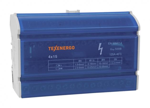 Шина нулевая на DIN-рейку в корпусе 4х15 групп ND4-15 Texenergo