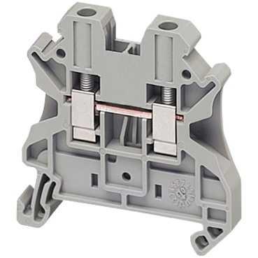 Клеммник винтовой проходной, сечением провода 4мм2, 2 точки подключения, серый NSYTRV42 Schneider Electric