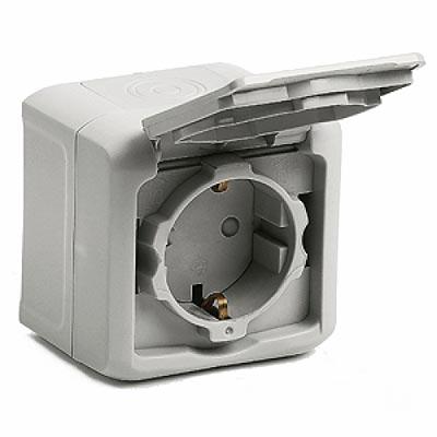 Розетка с з/к с крышкой, о/у, в сборе, серый IP55 ENN36031 Schneider Electric