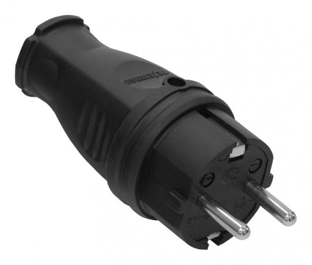 Вилка каучук черная прямая 2Р+РЕ 16А 220В IP44 VKP16-001 Texenergo