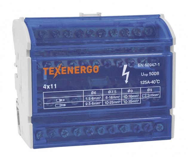 Шина нулевая на DIN-рейку в корпусе 4х11 групп ND4-11 Texenergo