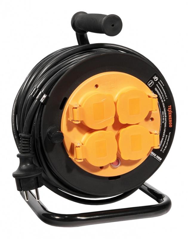 Удлинитель на пластиковой катушке УКп-4-40-16 4р/40м 16А ПВС 3х1,5 с з/к термо Texenergo CUKP20-4-40 Texenergo