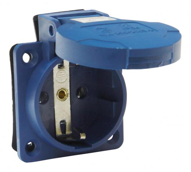 Розетка РП10-3 панельная с/у с защитной крышкой 2Р+РЕ 16А 250В IP44 SE010-016M Texenergo
