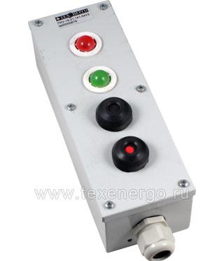Пост управления ПКУ 15-21.141-54У2 (Красная лампа, зеленая лампа, черная кнопка, красная кнопка) PKM1504 Texenergo