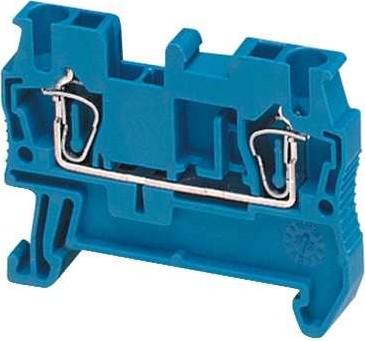Клеммник пружинный проходной, сечением провода 4мм2, 2 точки подключения, синий NSYTRR42BL Schneider Electric