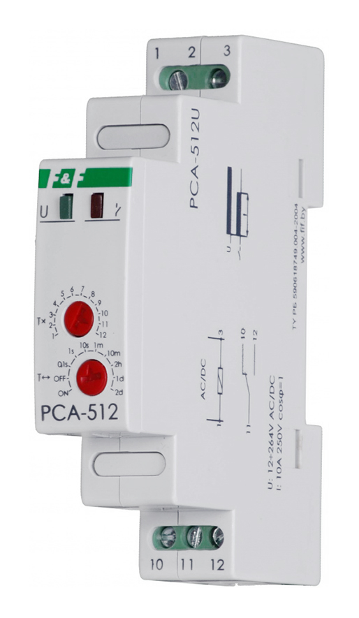 Реле времени PCA-512U, 12-264В АС/DC, 8А, IP20, с задержкой выключения, монтаж на DIN-рейке 35мм EA02.001.002 Евроавтоматика