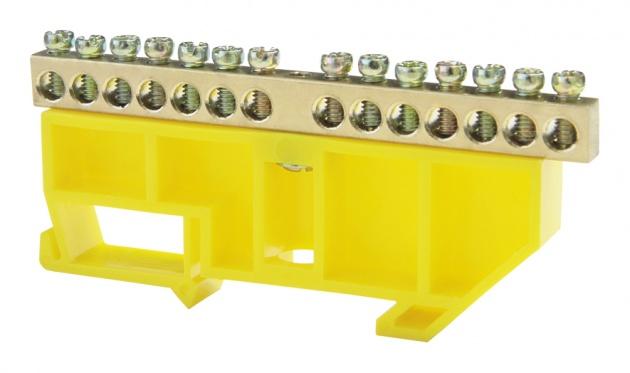 Шина нулевая 14/1 6х9 мм (с жёлтым DIN-изолятором) NN-69-14-DY Texenergo