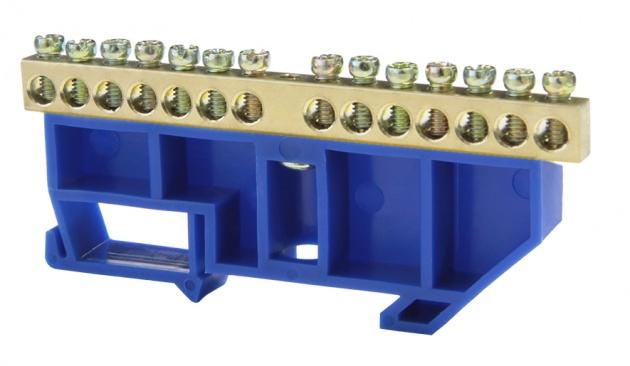 Шина нулевая 14/1 6х9 мм (с синим DIN-изолятором) NN-69-14-DB Texenergo