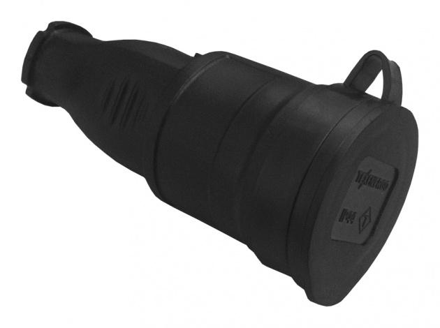 Розетка каучук. перенос. с З/К с защитной крышкой IP44 RKP16-001 Texenergo