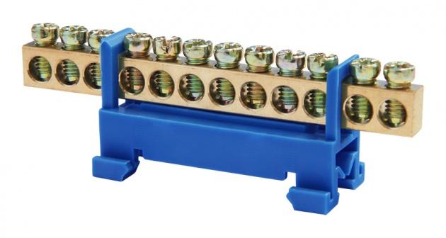 Шина заземления (нулевая) 12пар 6х9мм (с DIN-изолятором