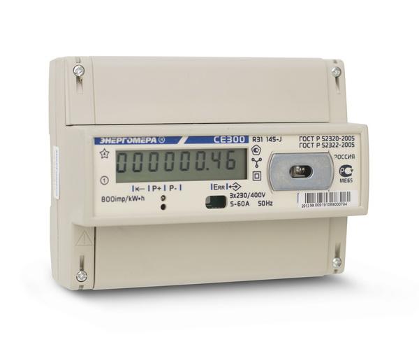Счетчик электроэнергии трехфазный однотарифный CE 300 R31 60/5 Т1 D 230/400В ЖК (CE300 R31 145-J) 101003003009191 Энергомера