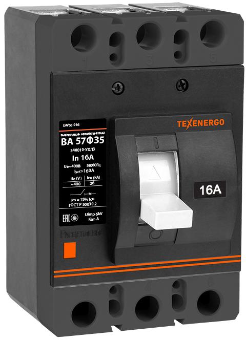 Автоматический выключатель ВА 57Ф35-340010 16А SAV58-016 Texenergo