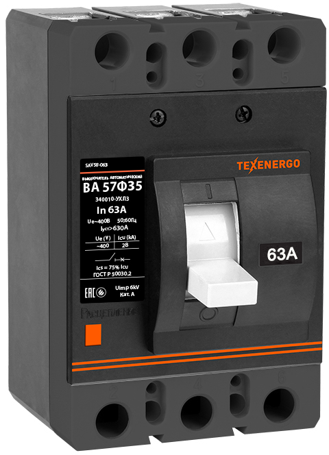Автоматический выключатель ВА 57Ф35-340010 63А SAV58-063 Texenergo