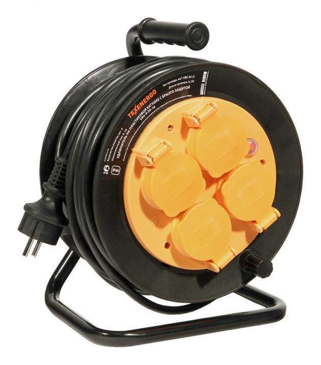 Удлинитель на пластиковой катушке УКп-4-20-16 4р/20м 16А ПВС 3х1,5 с з/к, IP44. термо CUKP20-4-20 Texenergo