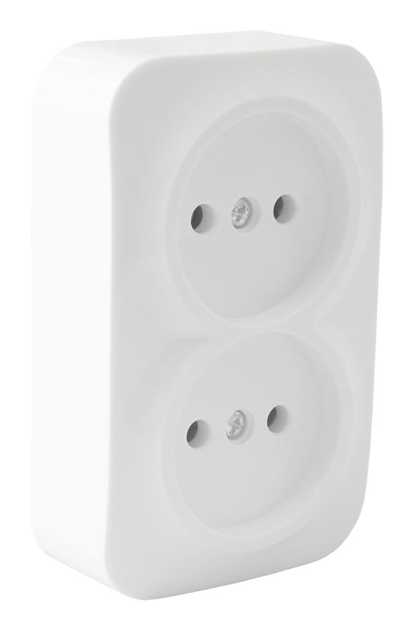 Розетка белая о/у 2м без з/к 250В, 16А белая Texenergo РА16-260 Texenergo
