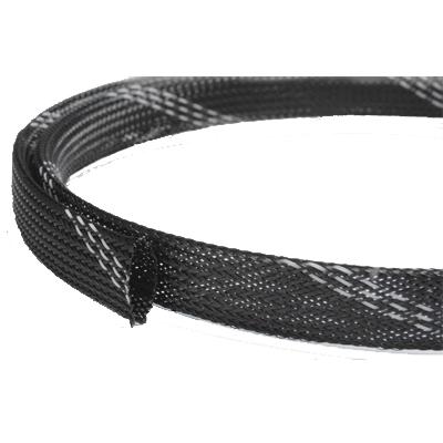 Полиэстеровая расширяемая с узором эластичная кабельная оплетка FRH-019 (19,0мм.) черно-белая (по 200м) EKO-FRH-019 Texenergo