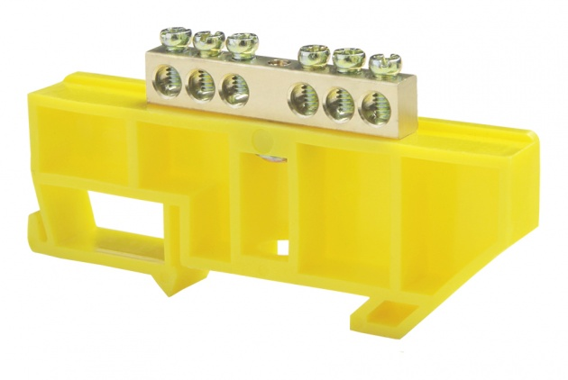 Шина нулевая 6/1 6х9 мм (с жёлтым DIN-изолятором) NN-69-06-DY Texenergo