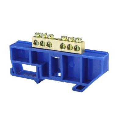 Шина нулевая 6/1 6х9 мм (с синим DIN-изолятором) NN-69-06-DB Texenergo