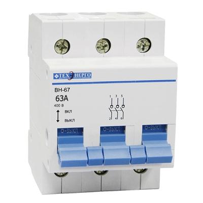 Выключатель нагрузки ВН-67 3р 63А MVN67-3-063 Texenergo