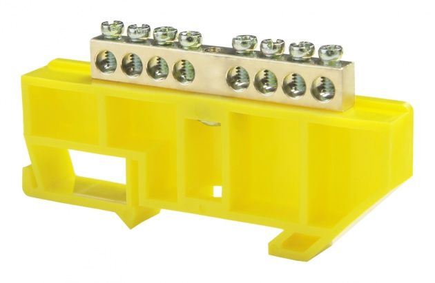Шина нулевая 8/1 6х9 мм (с жёлтым DIN-изолятором) NN-69-08-DY Texenergo