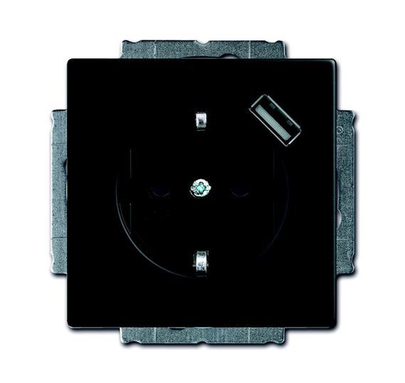 Розетка Schuko с устройством зарядным USB, 20 EUCBUSB-885-500, Future чёрный бархат, 16А, 700 мА, электронная защита от перегрузки и КЗ, безвинтовые клеммы, защитные шторки, 2011-0-6183 ABB